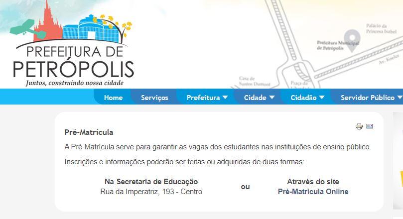 Inscrição Matrícula Escolar Petrópolis RJ 2020