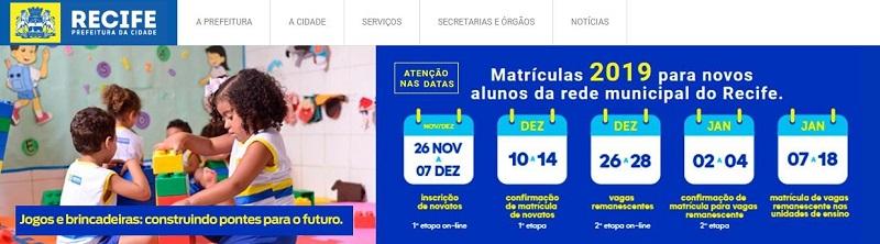 Inscrição Matrícula Online Recife 2020